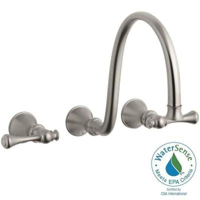 Revival 8 in. Wall Mount 2-Handle Low-Arc Bathroom Faucet in Vibrant Brushed Nickel