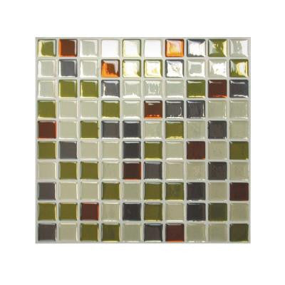 9.85 in x 9.85 in Adhesive Decorative Wall Tile Backsplash Idaho in Grey, Green, Beige and Rust (6-Piece)