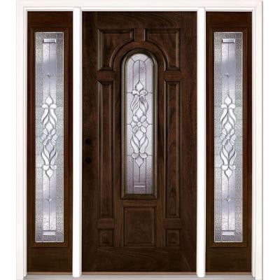 67.5 in. x 81.625 in. Lakewood Zinc Stained Chestnut Mahogany Fiberglass Prehung Front Door with Sidelites