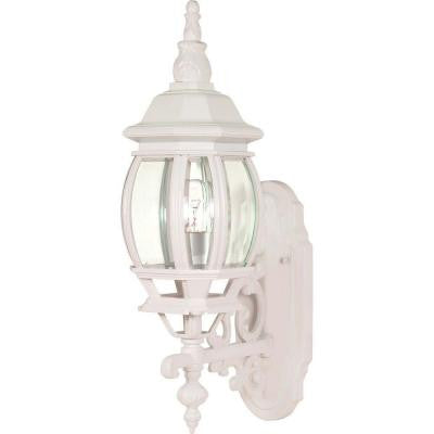 1-Light - 20 in. Wall Lantern with Clear Beveled Glass White