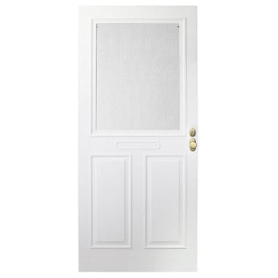 36 in. x 80 in. Forever White Store-in-Door Traditional Storm Door