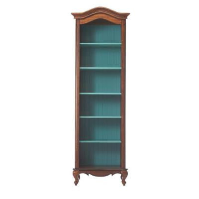 Provence 6-Shelf Open Bookcase in Chestnut with Blue
