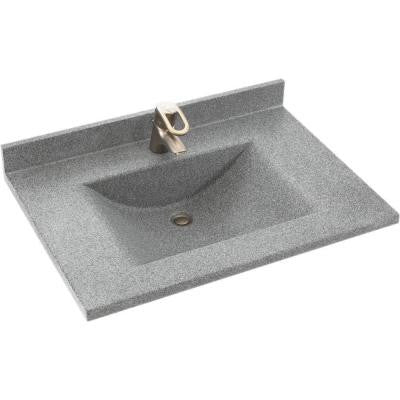 Contour 37 in. W x 22 in. D x 10-1/4 in. H Solid-Surface Vanity Top in Gray Granite with Gray Granite Basin