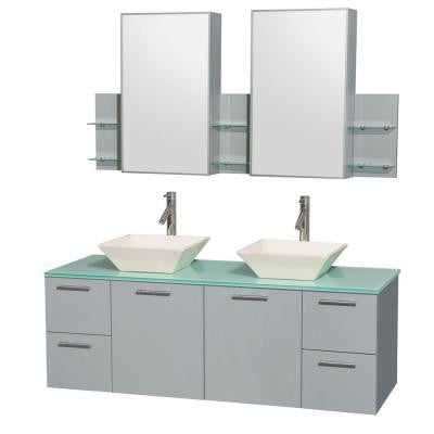 Amare 60 in. W x 22.25 in. D Vanity in Dove Gray with Glass Vanity Top in Green with Bone Basins and Cabinet Mirrors
