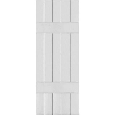 18 in. x 40 in. Exterior Real Wood Pine Board and Batten Shutters Pair Primed