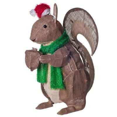 26 in. H. x 20 in. W Burlap Holiday Rustic Squirrel
