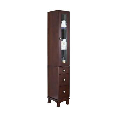 13-in. W x 82-in. H Transitional Cherry Wood-Veneer Linen Tower In Coffee