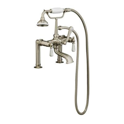 3-Handle Claw Foot Tub Rim-Mounted Faucet with Elephant Spout and HandShower in Brushed Nickel