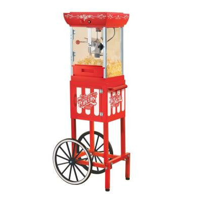 Vintage Collection 48 in. Popcorn Cart in Red with White Detailing