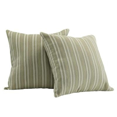 Coleman Spring Green Stripe Toss Pillow (Set of 2)
