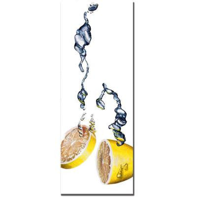 12 in. x 32 in. Lemon Splash II by Roderick Stevens Canvas Art