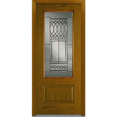 36 in. x 80 in. Paris Decorative Glass 3/4 Lite 1-Panel Finished Oak Fiberglass Prehung Front Door