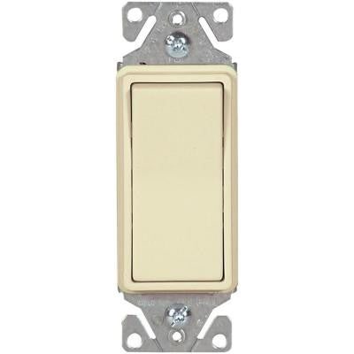 15 Amp 120/277-Volt Heavy-Duty Grade Single-Pole Decorator Lighted Switch with Back and Push Wire, Almond