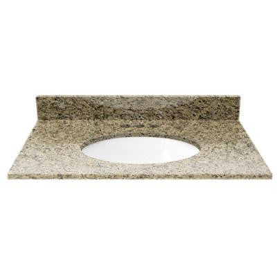 31 in. Granite Vanity Top in Giallo Ornamental with White Basin