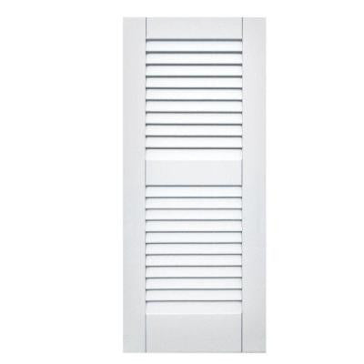 Wood Composite 15 in. x 35 in. Louvered Shutters Pair #631 White
