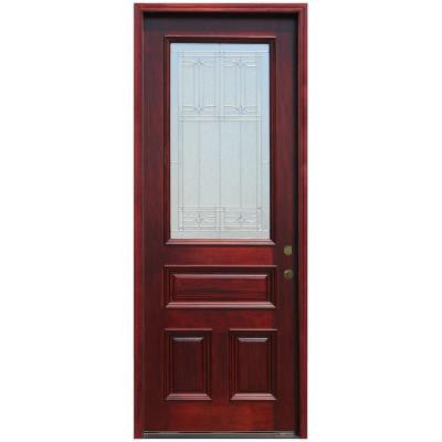 36 in. x 96 in. Traditional 3/4 Lite Stained Mahogany Wood Prehung Front Door with 8 ft. Height Series