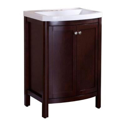 Madeline 24 in. Vanity in Chestnut with Composite Vanity Top in White