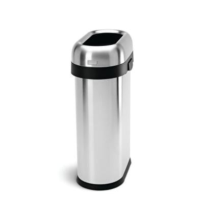 50 l Brushed Stainless Steel Slim Open Trash Can