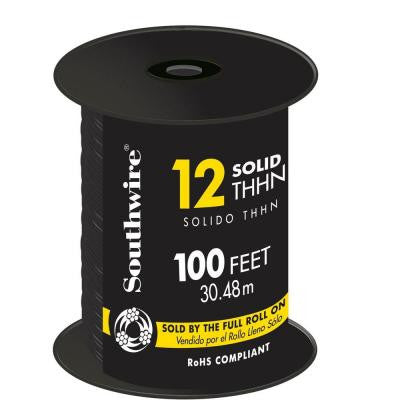 100 ft. 12/1 Solid THHN Wire Black