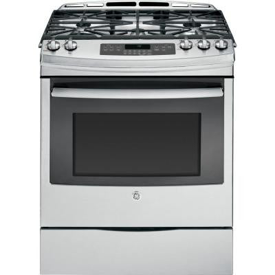 5.6 cu. ft. Slide-In Gas Range with Self-Cleaning Convection Oven in Stainless Steel