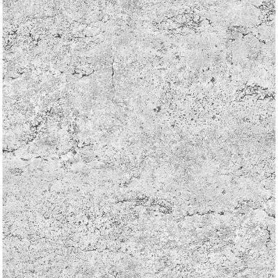 8 in. W x 10 in. H Light Grey Concrete Rough Industrial Wallpaper Sample