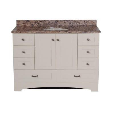 48 in. Manchester Vanity in Vanilla with 49 in. Stone Effects Vanity Top in Santa Cecilia