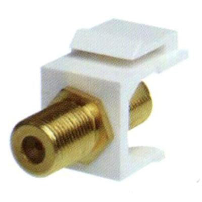 F-Type Gold F/F Feed-Through Snap-In Keystone Jack Insert -White