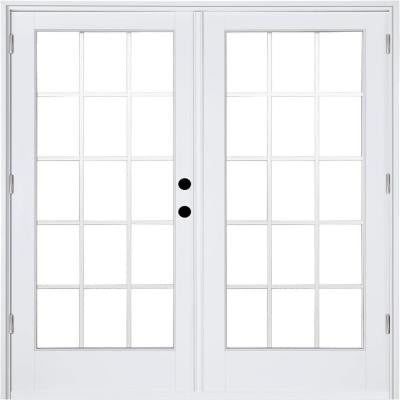 59-1/4 in. x 79-1/2 in. Composite White Left-Hand Outswing Hinged Patio Door with 15 Lite Internal Grilles Between Glass