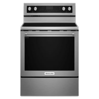 30 in. 6.4 cu. ft. Electric Range with Self-Cleaning Convection Oven in Stainless Steel