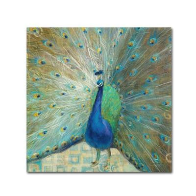 "24 in. x 24 in. ""Blue Peacock on Gold"" by Danhui Nai Printed Canvas Wall Art"
