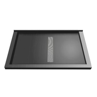 34 in. x 48 in. Triple Threshold Shower Base with Center Drain and Brushed Nickel Trench Grate