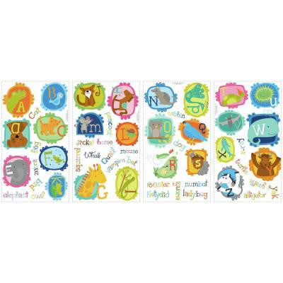 5 in. W x 11.5 in. H ABC Animal 52-Piece Peel and Stick Wall Decal