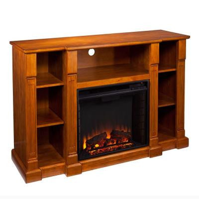 Scarlett 52 in. Freestanding Media Electric Fireplace in Glazed Pine