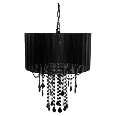 1-Light Black Shaded Chandelier