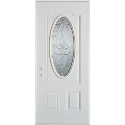 36 in. x 80 in. Traditional Zinc 3/4 Oval Lite 2-Panel Prefinished White Right-Hand Inswing Steel Prehung Front Door