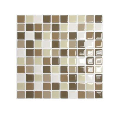 9.85 in. x 9.85 in. Mosaic Adhesive Decorative Wall Tile Backsplash Harmony in Beige (12-Piece)