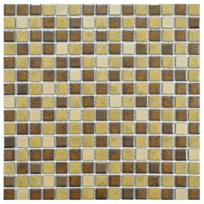Metal Multi Beige 12-1/4 in. x 12-1/4 in. x 5 mm Porcelain Mosaic Floor and Wall Tile (10.5 sq. ft. / case)
