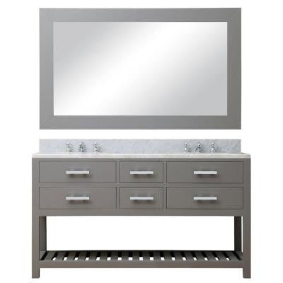 60 in. W x 21.5 in. D Vanity in Cashmere Grey with Marble Vanity Top in Carrara White and Mirror