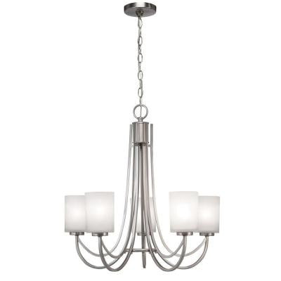 5-Light Brushed Nickel White Shade Ceiling Chandelier