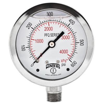 PFQ Series 2.5 in. Stainless Steel Liquid Filled Case Pressure Gauge with 1/4 in. NPT LM and Range of 0-600 psi/kPa