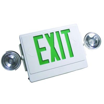 High-Impact White with Green Letters Thermoplastic 120/277 LED Emergency Exit Sign with Dual Emergency Light