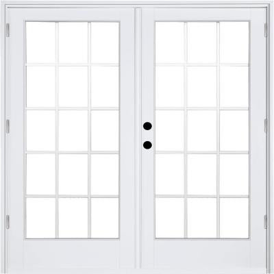 71-1/4 in. x 79-1/2 in. Composite White Right-Hand Outswing Hinged Patio Door with 15 Lite Internal Grille Between Glass