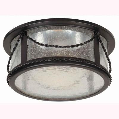 6 in. Oil Rubbed Bronze Recessed Deco Trim with Seeded Glass Shade