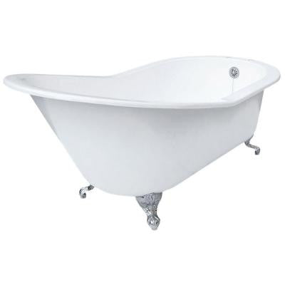 5 ft. 7in. Grand Slipper Cast Iron Tub Rim Faucet Holes in White with Ball and Claw Feet in Chrome