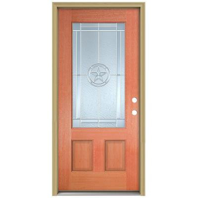 36 in. x 80 in. Lone Star 3/4 Lite Unfinished Mahogany Wood Prehung Front Door with Brickmould and Zinc Caming