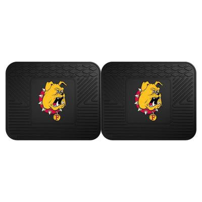 NCAA Ferris State University Black Heavy Duty 2-Piece 14 in. x 17 in. Vinyl Utility Mat