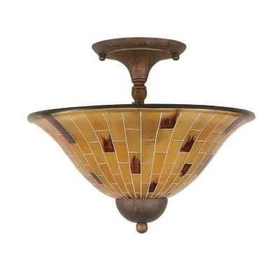 Concord 2 Light Ceiling Bronze Incandescent Semi-Flush Mount
