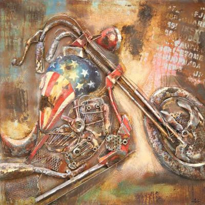 "40 in. x 40 in. ""American Motorcycle"" Hand Painted Metal Wall Art"