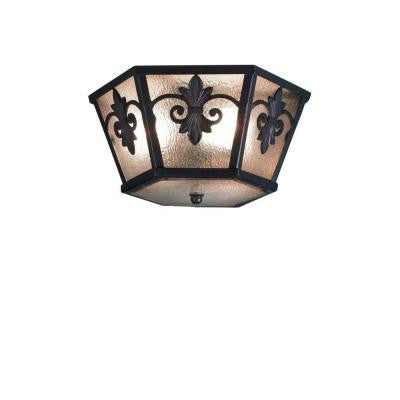 Lonsdale Collection Flushmount 3-Light Antique Sable Outdoor Lantern