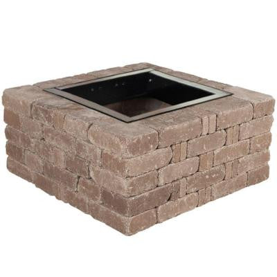 38.5 in. x 17.5 in. Rumblestone Square Fire Pit Kit in Cafe